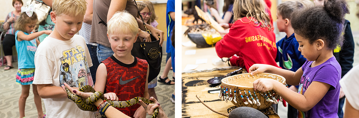 Two photos: one of two boys holding a snake during animal program and the second of a young girl crafting her own beaded basket during craft program