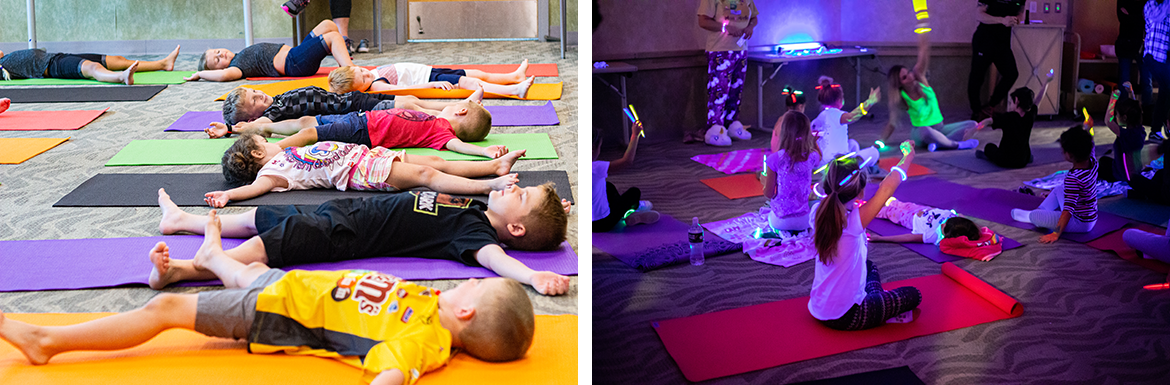 Photo collage slide of images during Children's Yoga programming