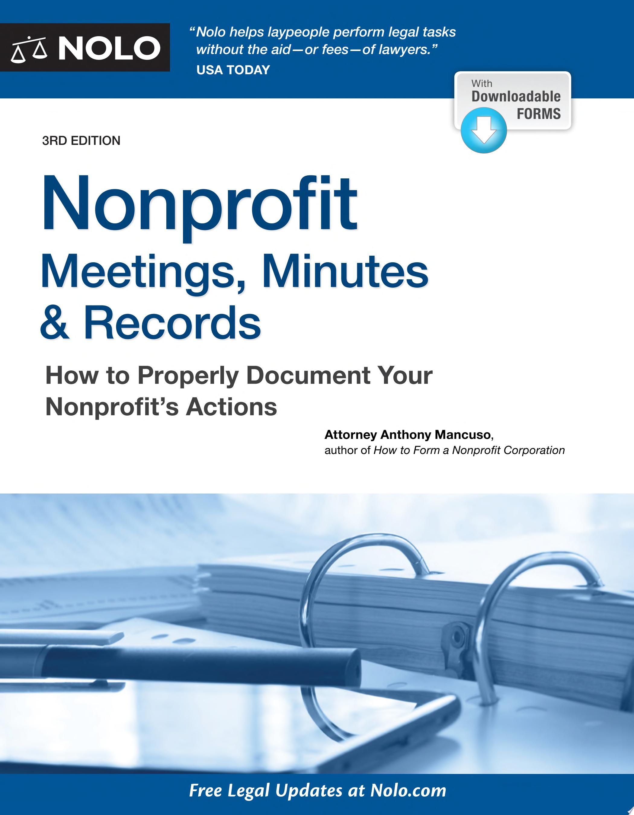 "Image for ""Nonprofit Meetings, Minutes & Records"""