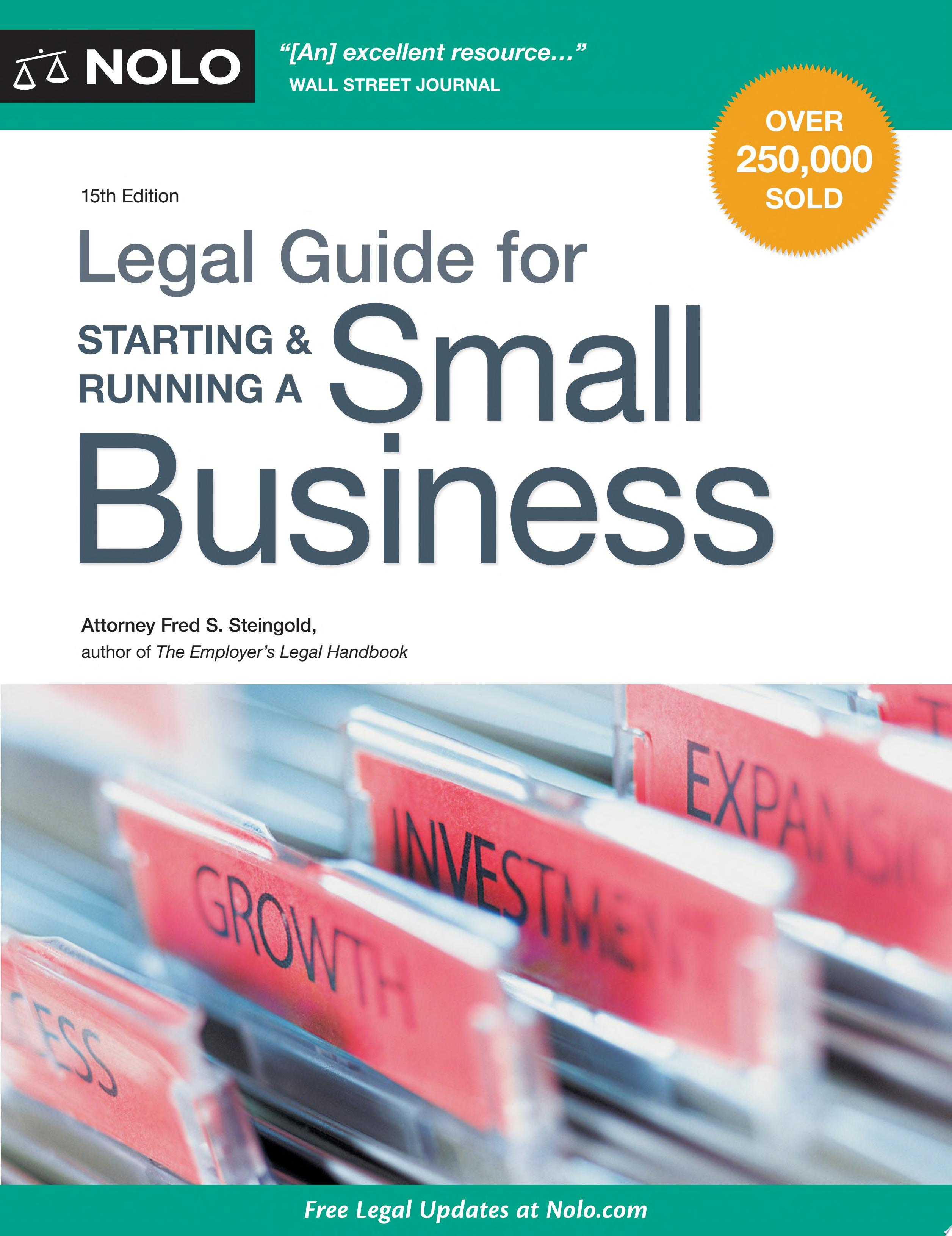 "Image for ""Legal Guide for Starting & Running a Small Business"""